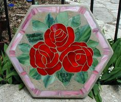 Three Roses stepping stone madetoorder. by GlassFactory on Etsy