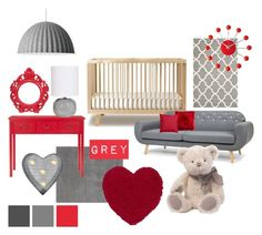 """RED AND GREY NURSERY"" by julie-rawding ❤ liked on Polyvore featuring interior, interiors, interior design, home, home decor, interior decorating, Oeuf, Prospect + Vine, Safavieh and Crystal Art"