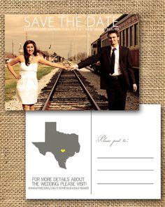Vintage Post Card Save the Date- Digital Download. $25.00, via Etsy.