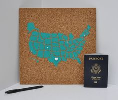 United States Corkboard Map with State Names USA Cork Map Hand