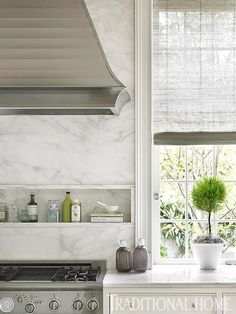 House Tour: Stone House - Design Chic Marble backsplash and inset for oils, etc. La Cornue, Beautiful Kitchens, Beautiful Homes, Kitchen Interior, Kitchen Design, Smart Kitchen, Kitchen White, Small Shelves, Stone Houses