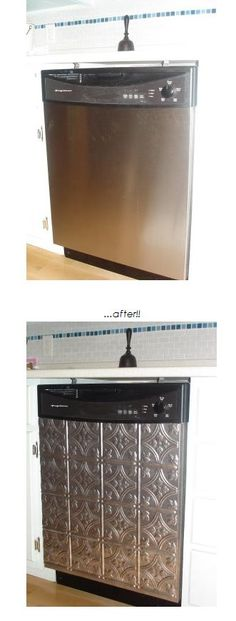 Easy & affordable dishwasher upgrade using a faux tin panel & doublesided adhesive tape via the Restyled Home Blog