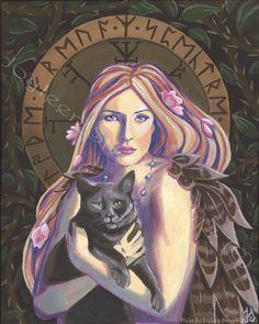 déesse freyja rituel pour la beauté | Freya - Original Fine Art Giclee Print, taille 13 x 10 po, scandinave ...