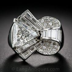 Deco/Retro Diamond and Platinum Cocktail Ring, 1930s-1950's