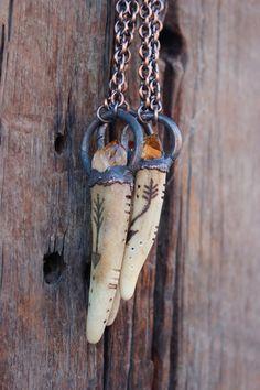 Deer Antler Raw Citrine Necklace Unisex by WildPeopleFreeSpirit