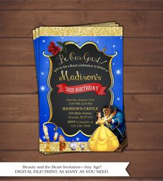 Beauty and the Beast Birthday Invitation by CindysEventCreations