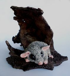 A lifesize pygmy possum mounted on bark from polymer clay I made.They are twice the size of a mouse
