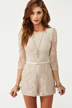Taupe Lace Romper- surprisingly I love it! Her hair is beautiful too!