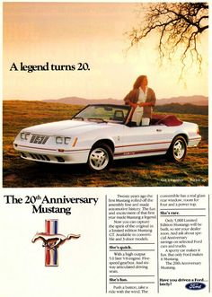 1984 Ford Mustang convertible 20th anniversary advertisement (showing the GT 350 convertible 20th Anniversary Edition)