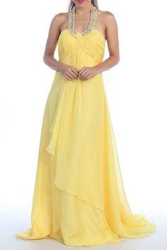 Yellow Halter Dress Corporate Event Long Soft Chiffon Empire Waist $177.99