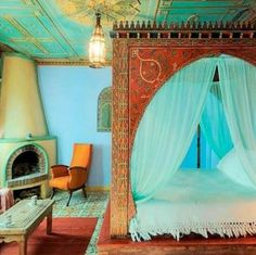 Comfortable Moroccan Bedroom Design Ideas for Amazing Home - Page 31 of 41 Moroccan Style Bedroom, Moroccan Interiors, Moroccan Design, Moroccan Decor, Moroccan Lanterns, Moroccan Tiles, Design Marocain, Style Marocain, Style At Home