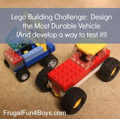 Lego Fun Friday: Build the Most Durable Vehicle (And develop a way to test it!) - Frugal Fun For Boys and Girls Stem Projects, Lego Projects, Science Projects, Lego Duplo, Lego Math, Legos, Lego Engineering, Lego Challenge, Lego Club