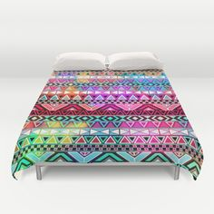 Neon Aztec | Purple Pink Neon Bright Andes Abstract Pattern Duvet Cover