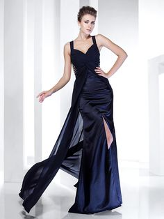 bbe92b61edb Sheath   Column Spaghetti Strap Sweep   Brush Train Chiffon   Satin  Beautiful Back Formal Evening Dress with Split Front   Ruched by TS Couture®