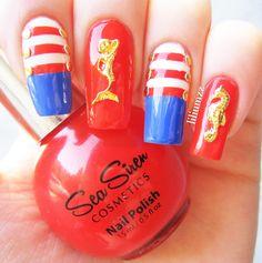 NAUTICAL NAILS   Sea Siren - Cabin Fever (red)  Sea Siren - Ultramarine (blue)  Sea Siren - Leucusia  (white)   #nail #nails #nailart #naildesign #nailpolish #nailstagram #manicure #mani #neglelakk #manikyr #instanails #nagellack #nailspiration #notd #nailsoftheday #cutenails #cutemani #nails2inspire #nailartaddict #nailsofinstagram
