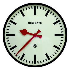 NEWGATE Putney Metal Case $259.00. This striking, contemporary round wall clock is a perfect accessory for a modern living space. It has an off-white dial, red hands and black numbers - and is available with a chrome or black metal case.  #Putneymetalcaseclock #thewrightgift