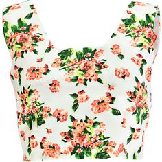 Boohoo Riley Bright Print Crop Zip Back Bralet ($5) ❤ liked on Polyvore featuring tops, shirts, crop tops, tank tops, blusas, print crop top, shirt crop top, bralette crop top, white crop top and bralet tops