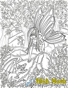 Fairy Coloring Pages coloring pages to print by MishMashArt, $1.99