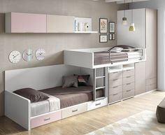 45 Impressive Girl Room Design Ideas With Two Beds For Your Inspiration Kids Beds With Storage, Cool Beds For Kids, Bedroom Table, Bedroom Decor, Warm Bedroom, Bedroom Storage, Girl Room, Girls Bedroom, Kid Bedrooms