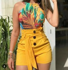 Buy Women Summer Fashion Sexy High Waisted Shorts Plus Size Button Slim Short Pants with Belt at Wish - Shopping Made Fun Trend Fashion, Look Fashion, Fashion Outfits, Fashion Shorts, Womens Fashion, Fashion Sandals, Latest Fashion, Women's Summer Fashion, Fall Fashion
