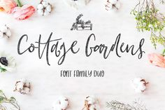 Cottage Gardens Script Font Duo Fonts Introducing the newest font family for Creativeqube - Cottage Gardens! A gorgeous hand drawn font w by Creativeqube Design Handwritten Fonts, Script Fonts, Typography Fonts, All Fonts, Creative Fonts, Creative Sketches, Garden Font, Hand Drawn Fonts, Open Type