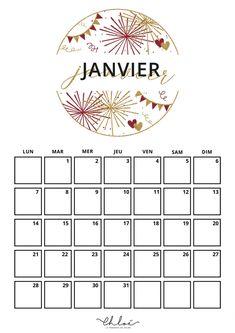 Calendrier janvier à imprimer // La Penderie de Chloé, blog lifestyle. January Calendar, Diy Calendar, Print Calendar, To Do List Printable, Weekly Planner Printable, Bullet Journal Month, Bujo, Mood Tracker, Bullet Journal Inspiration