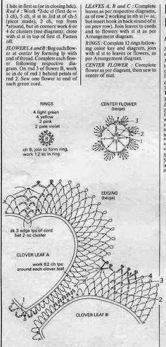 Patrones de carpeta con forma de 4 corazónes y flores, tejida con ganchillo