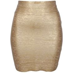 Minty Meets Munt Metallic Body Con Skirt in Gold ($190) ❤ liked on Polyvore