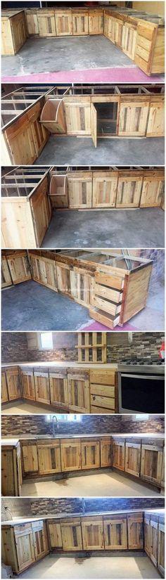 DIY Wood Pallet Kitchen Cabinets