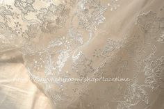 Ivory Alencon Lace Fabric, Embroidery Bridal Lace Fabric, Wedding Gown Lace, Cord Lace Fabric on Etsy, 5452,27Ft