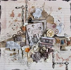 Scraps Of Darkness scrapbook kits: vintage mixed media layout with our May 2017 'Attic Finds' kit, by Kerstin
