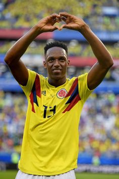 Yerry Mina of Colombia shows appreciation to the fans following his sides victory in the 2018 FIFA World Cup Russia group H match between Senegal and... Soccer World Cup 2018, World Football, Fifa World Cup, Russia World Cup, Russia 2018, Latest Sports News, Everton, Fc Barcelona, Ronaldo