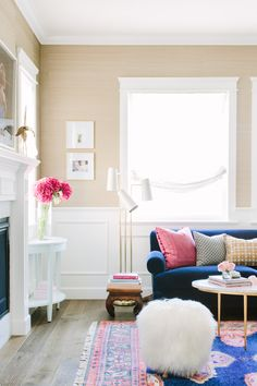 Glamour Nest Interior Design Portfolio | Los Angeles, Dallas, Fort Worth | Navy, pink, and gold living room.
