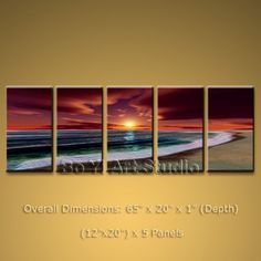 MODERN ART Large Seascape Oil Painting Canvas Beach Ocean Sea Wave Sunset 65 x 20 by Bo Yi Studio #3091