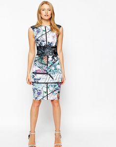 Printed midi sheath dress.