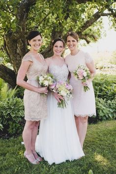 Short ivory bridesmaids' dresses - the perfect style for a Vermont farm wedding. | Tiffany Medrano Photography