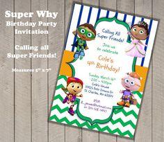 PRINTABLE Super Why Invitation Birthday Party by yourdayinvites, $15.00