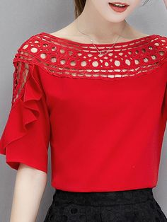 Buy Crew Neck Flounce Hollow Out Blouses online with cheap prices and discover fashion Blouses at Fashionmia.com.