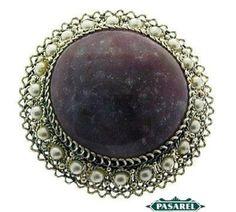 Pasarel - Sterling Silver & Filigree Pink Jasper Pearl Brooch / Pendant, Israel, 1950's $160.00