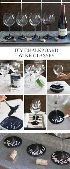 DIY Chalkboard Wine Glasses by elisabeth