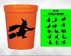 """3"""" Halloween Witch SET - Sheet of 15 Decals for Halloween - Halloween Decorations - For Windows, Door, Pumpkins, Cups and More by amberrockstar. Explore more products on http://amberrockstar.etsy.com"""