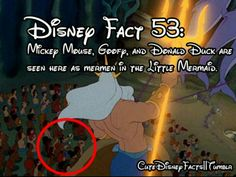 Disney fact #53 - Mickey Mouse, Goofy, and Donald Duck are seen here as mermen in The Little Mermaid.