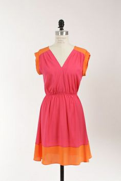 """""""Miss Independent"""" pink & orange dress. Shop Simply Me. FREE SHIPPING with every purchase!!"""
