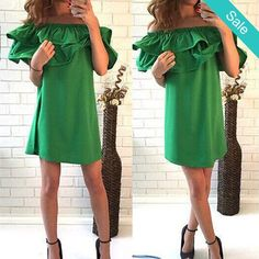 Sexy Women's Kelly Green Summer Off the Shoulder Double Ruffle Shift Dress - SKU: 299521Decoration: RufflesSleeve Style: Butterfly SleeveMaterial: PolyesterDresses Length: Above Knee, MiniSilhouette: A-LineSleeve Length: Short Fit: Smaller than normal, order up a size Please allow 2-5 weeks for shipping/processing time. - On Sale for $32.00 (was $39.00)