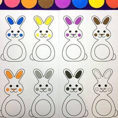 bunny color file folder game for preschool and kindergarten