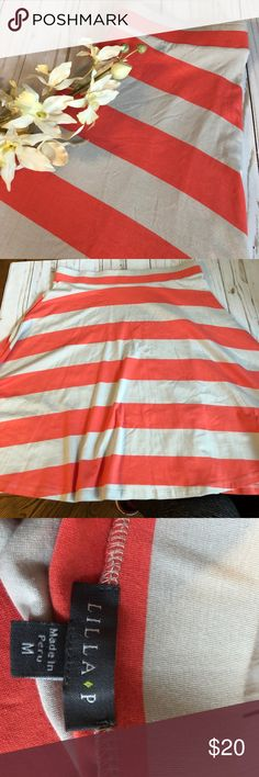 Soft & Comfy Lilly P Striped Skirt Medium Great orange and beige striped skirt, so soft and casual. Stretch waistband,approximately 36 in.,22in from waist to hem. Preowned and clean, smoke free home Lilla P Skirts