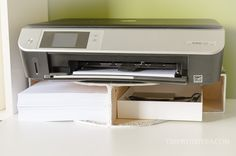 Blog post at Time With Thea : Easy DIY Desktop Printer Shelf ~ Tutorial showing how to easily create a space saving storage shelf on a desktop for your printer and printe[..]