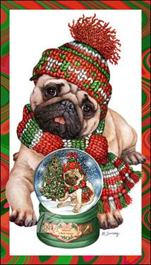 Pug - Pug in a Snow Globe (Fawn) -  by Margaret Sweeney