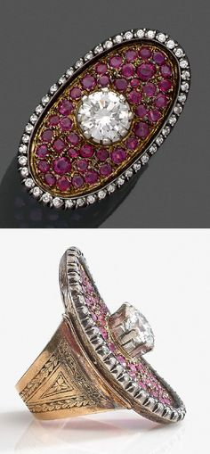 An antique gold, silver, diamond and ruby ring, circa 1900. #antique