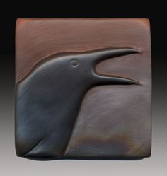 Laura McCaul wood carving crow (to have some of these as tiles! Ceramic Birds, Ceramic Animals, Ceramic Pottery, Ceramic Art, Ceramic Plates, Crow Art, Crows Ravens, Clay Tiles, Wood Sculpture
